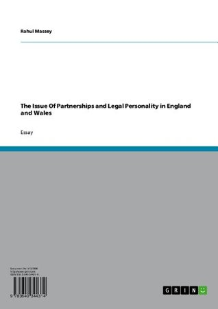 The Issue Of Partnerships and Legal Personality in England and Wales