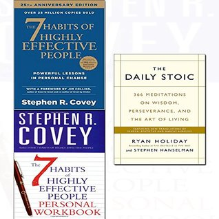 Daily stoic,7 habits of highly effective people,personal workbook 3 books collection set