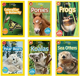 National Geographic Readers Level 1 : Caterpillar to Butterfly, Ponies, Frogs, Koalas, Sea Otters, Polar Bears - 6 Book Set