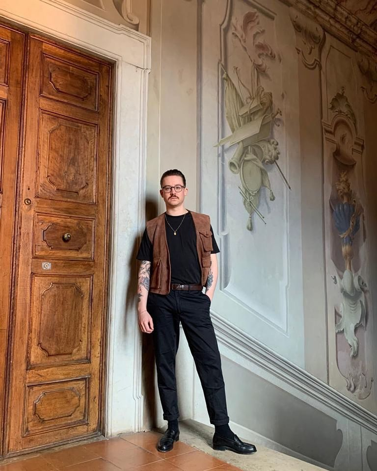 Maximilian Arnold is the only artist remaining in residency at the 13th-century Palazzo Monti in Brescia, and he has kept up working while under quarantine