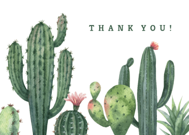 Cactus Free Thank You Card Template Greetings Island