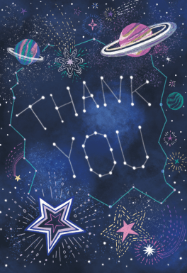 Outer Space Free Thank You Card Template Greetings Island