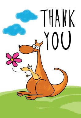 Thank You Kangaroo Free Thank You Card Template Greetings Island