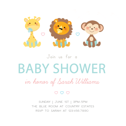 Cute Baby Animals Shower Invitation Template Free