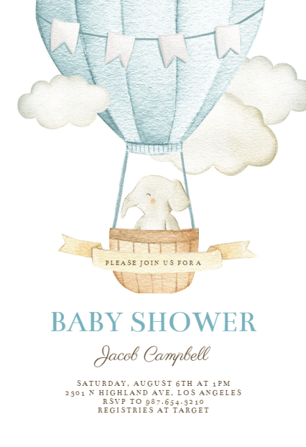 Elephant Air Balloon Baby Shower Invitation Template Free