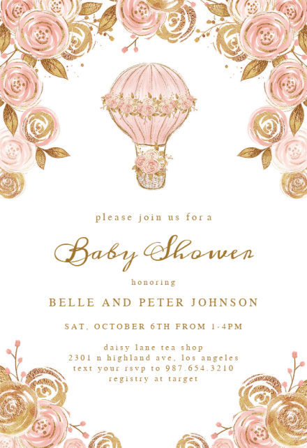 pink and gold party invitation