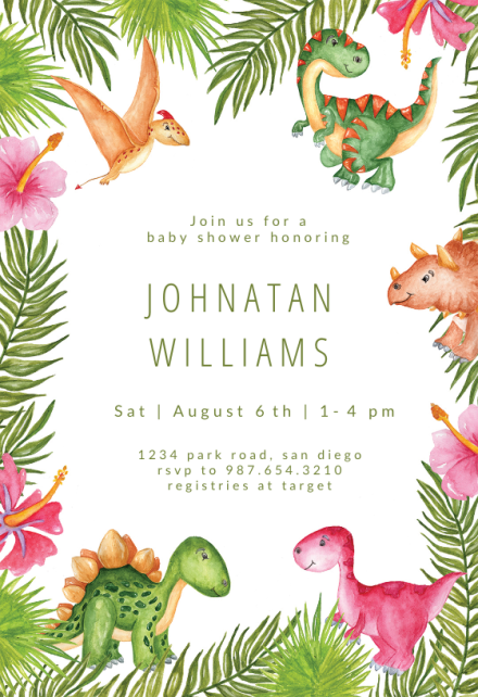 Watercolor Dinosaurs Baby Shower Invitation Template