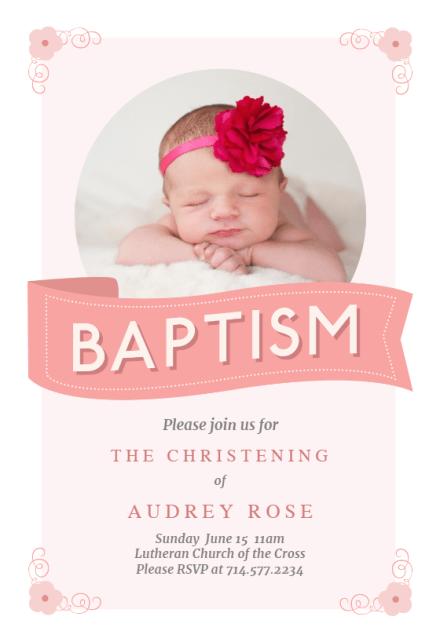 girl baptism christening invitations