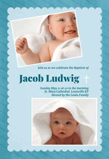 boy baptism christening invitation