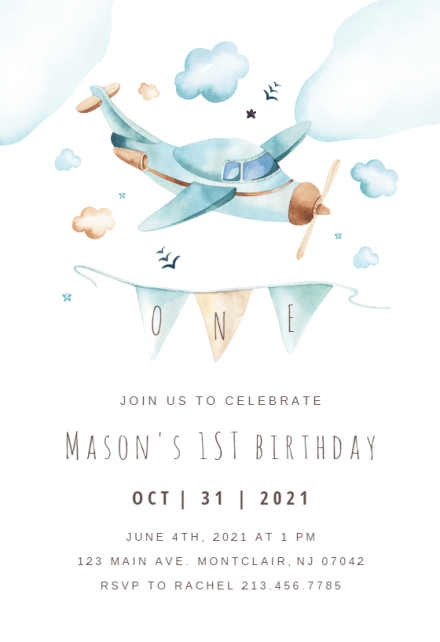 cute airplane birthday invitation
