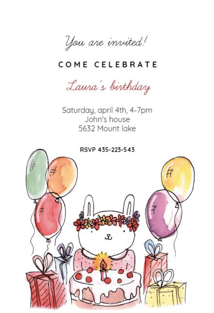 birthday bunny birthday invitation