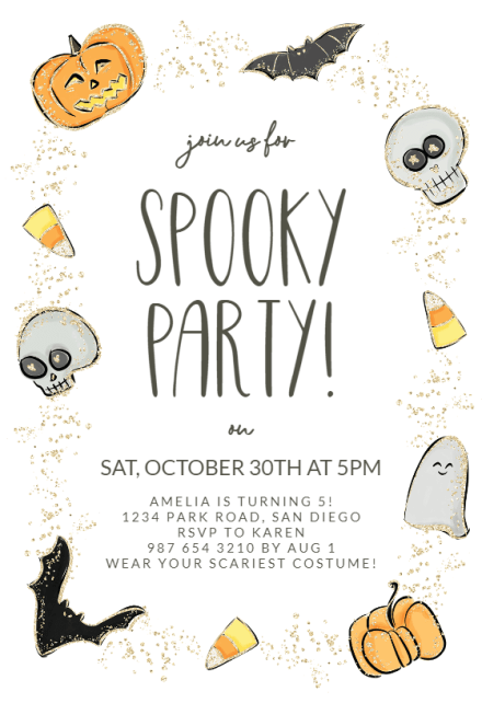 Orange and cream spooky hand drawn playful halloween children's party invitation. Halloween Party Invitation Templates Free Greetings Island