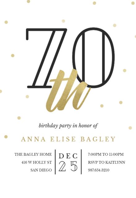 golden age 70 birthday invitation