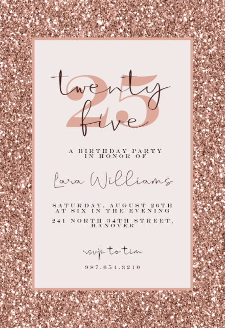 25th birthday invitation templates