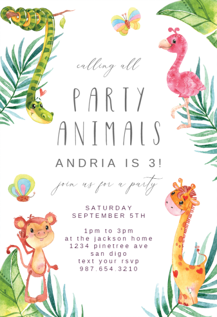 african jungle birthday invitation