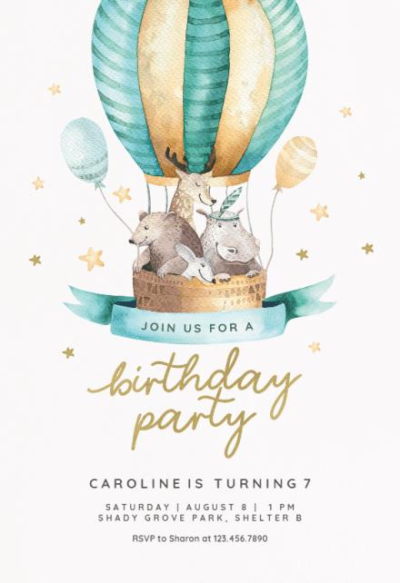 air balloon birthday invitation