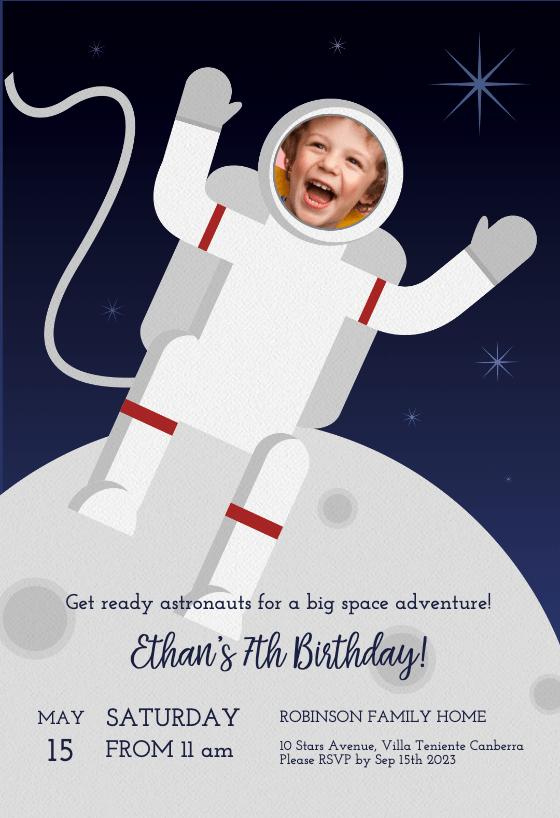 astronaut birthday invitation