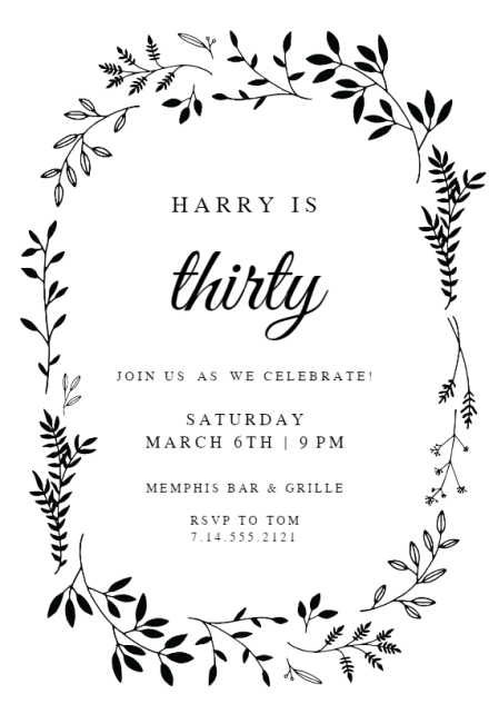 birthday invitation templates for him