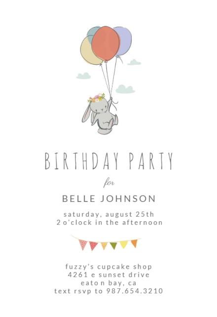 bunny balloon birthday invitation