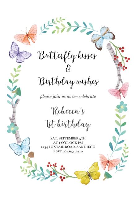 butterfly wreath birthday invitation