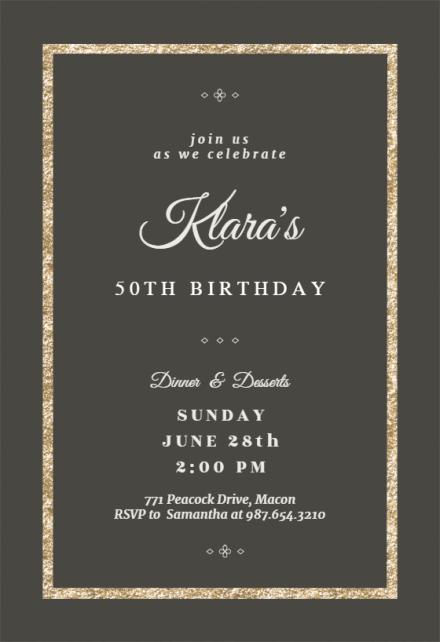 elegant gold birthday invitation
