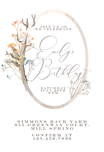 fairy tale border birthday invitation