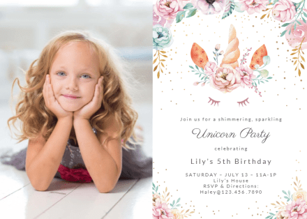 unicorn birthday invitation templates
