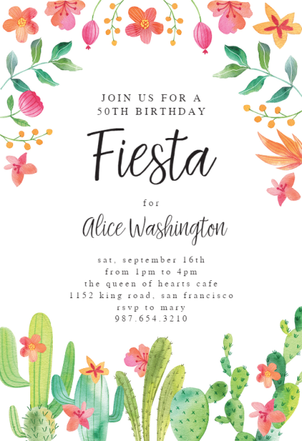 flowerly fiesta birthday invitation