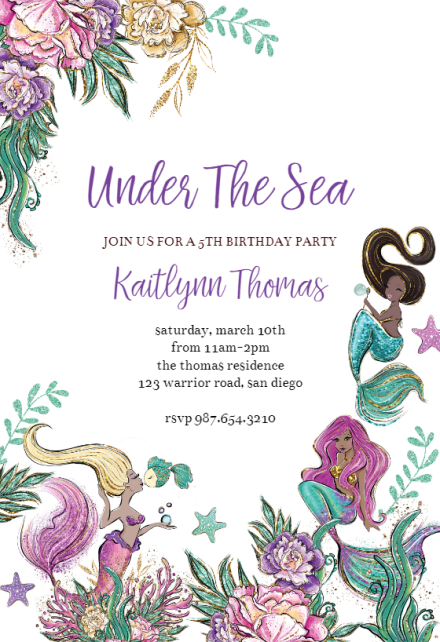 mermaids birthday invitation template
