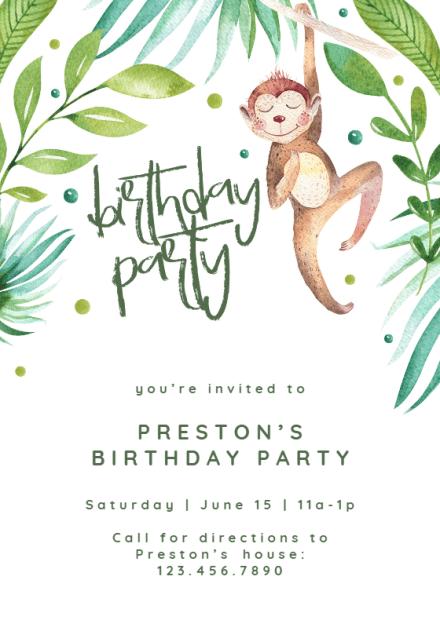 hanging monkey birthday invitation