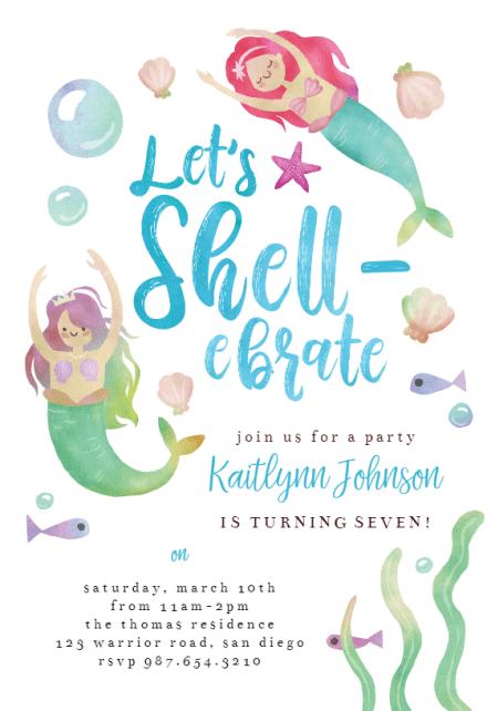 mermaid shellebration birthday