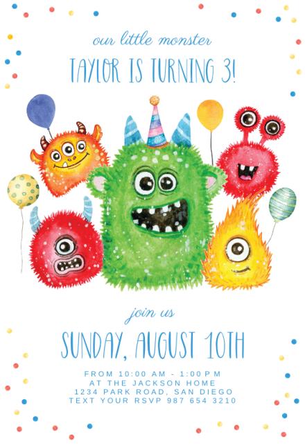 monsters birthday invitation template