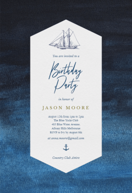 Nautical Yacht Birthday Invitation Template Free
