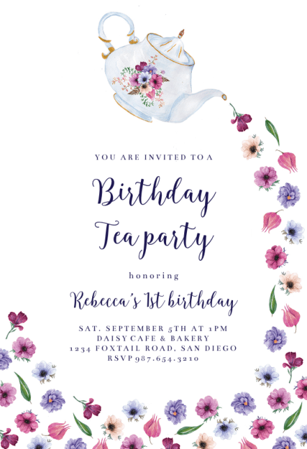 pouring tea birthday invitation