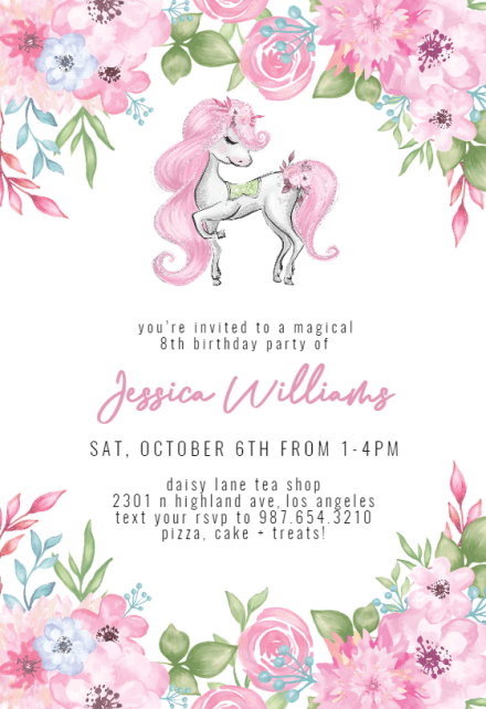unicorn invitation templates free