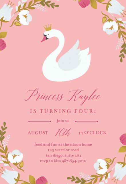 princess swan birthday invitation