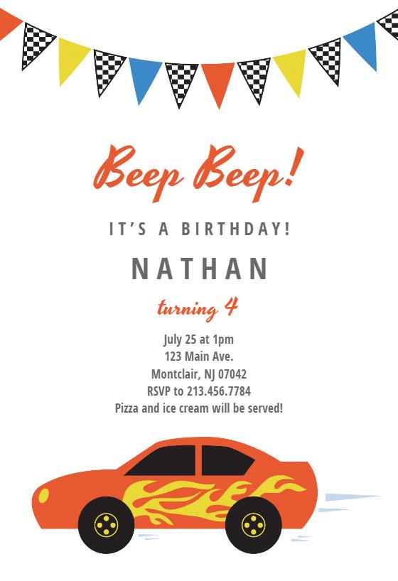 racing car birthday invitation