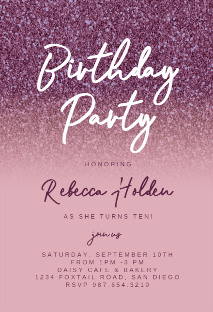 birthday invitation templates for her