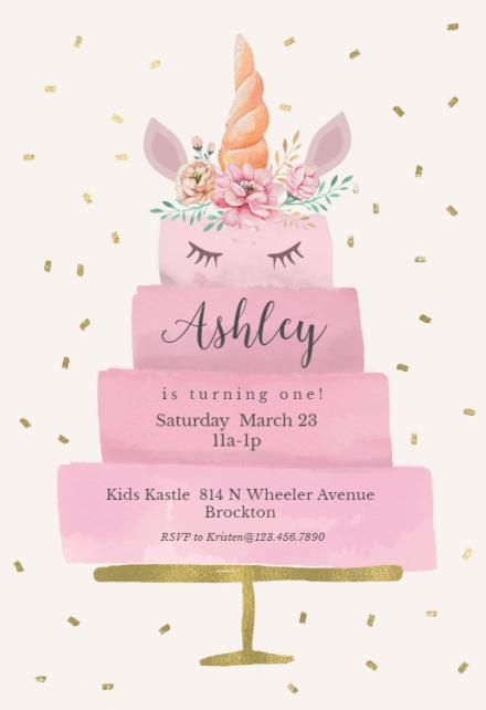 unicorn birthday invitation templates