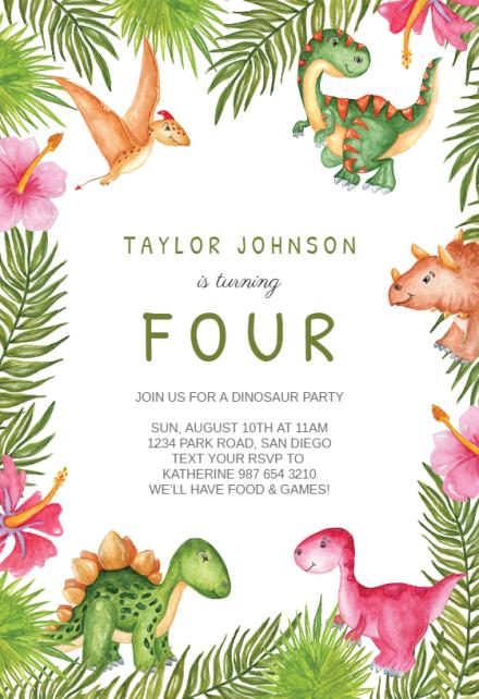 dinosaur birthday invitation templates