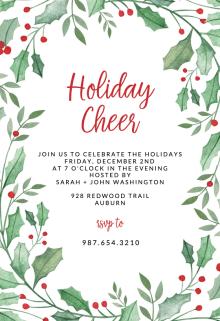 Leaf Holly Border Christmas Invitation