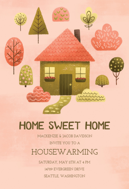 Cozy Pink Housewarming Invitation