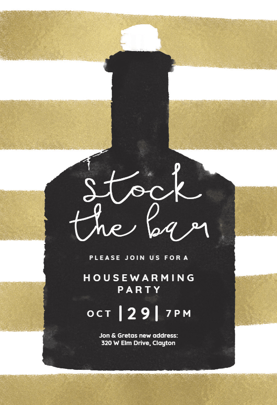 Stock The Bar Housewarming Invitation Template Free