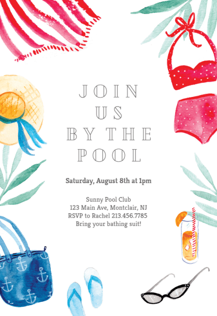 pool party invitation templates free