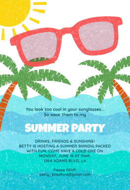 Looking Cool Pool Party Invitation Template Free