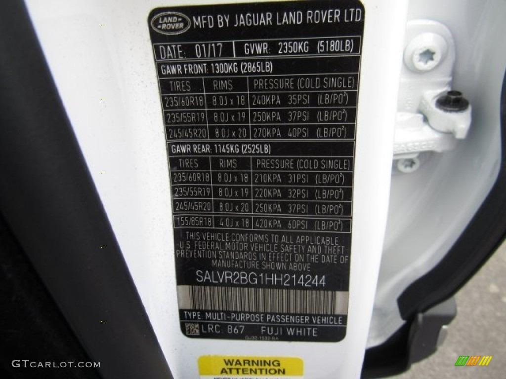 2017 Range Rover Evoque Color Code 867 For Fuji White
