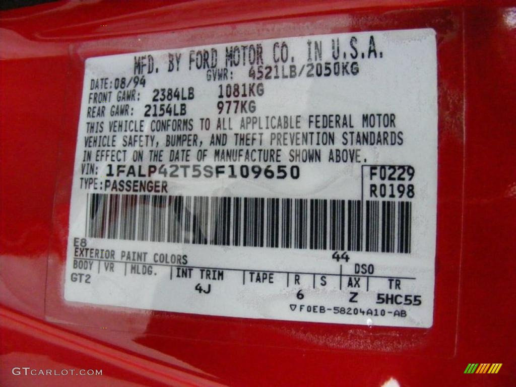 1995 Mustang Color Code E8 For Rio Red Photo 40837601