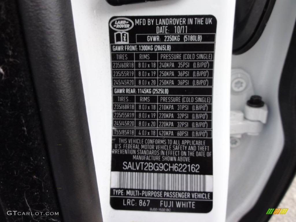 2012 Range Rover Evoque Color Code 867 For Fuji White