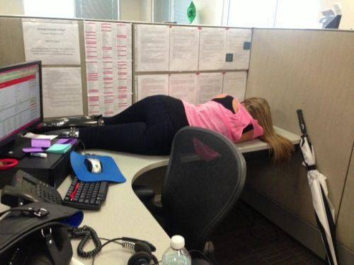 Funny Woman Falling Asleep Work