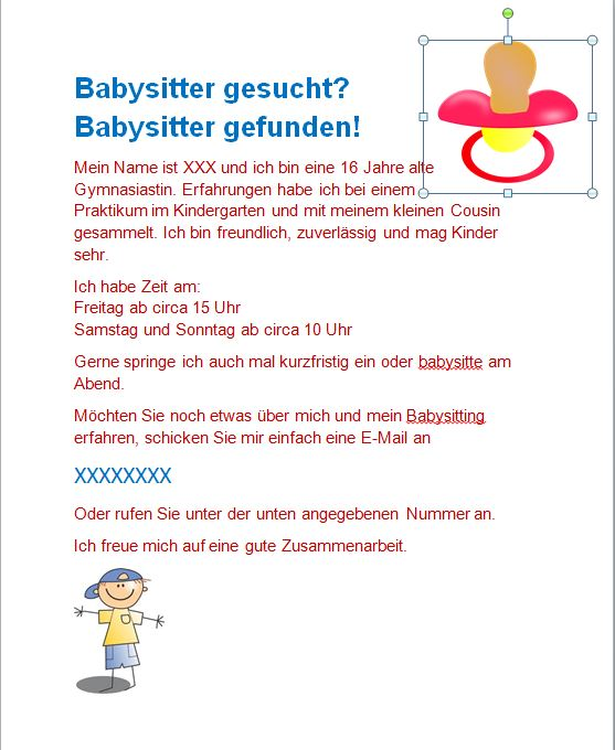 Babysitting Ads Examples